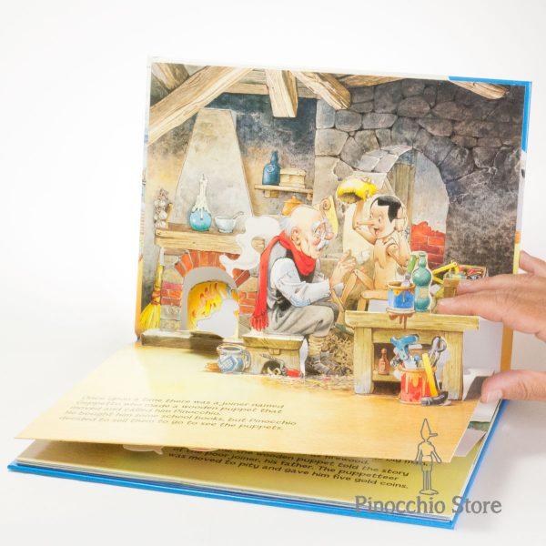 Libro pop-up di Pinocchio aperto