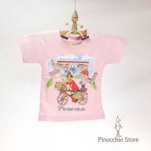 T-shirt con Pinocchio in bici